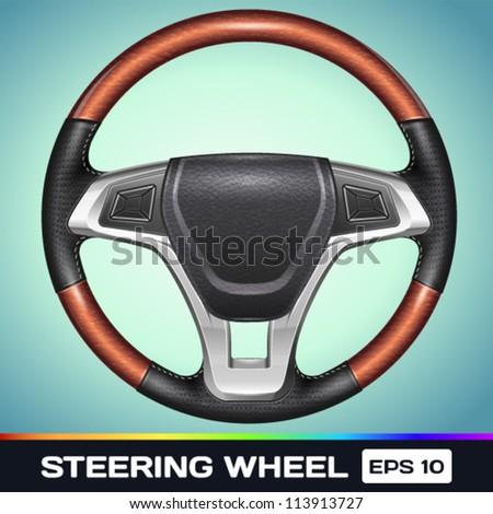 Realistic Vector Steering Wheel - stock vector