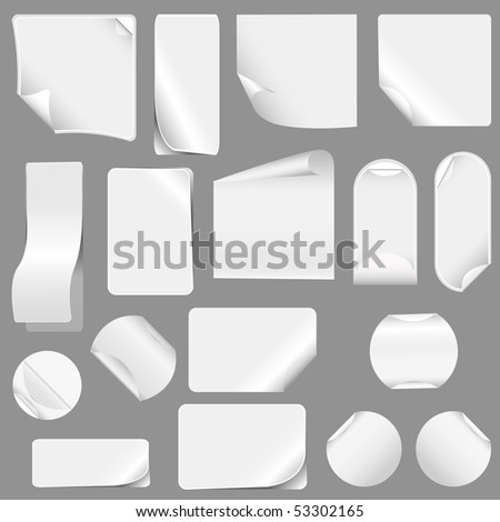 realistic vector stickers with peeling corners