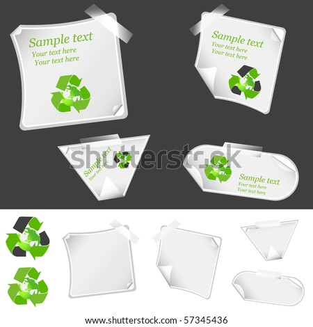 realistic vector stickers with peeling corners and recycle arrow symbols