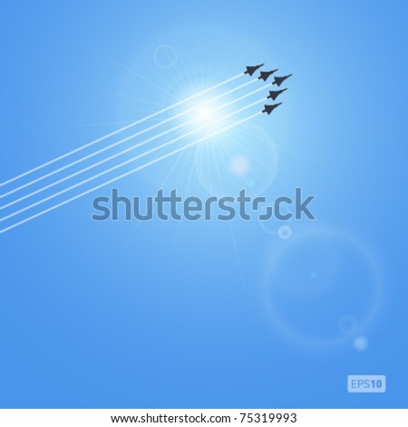 realistic vector sun and jets