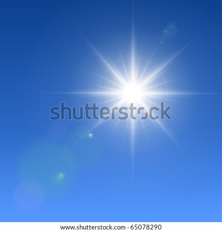 Realistic vector sun with lens flares.