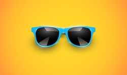 Realistic vector sunglasses on a yellow background, vector illustration