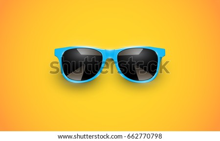Shutterstock Realistic vector sunglasses on a yellow background, vector illustration