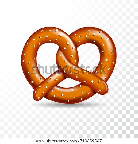 Realistic vector tasty pretzel illustration on the white transparent background.