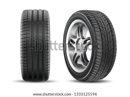 Realistic vector tires set. Car tires with different tread marks. Vector wheel icon. Tire shop, tyres change auto service. Isolated. White background.