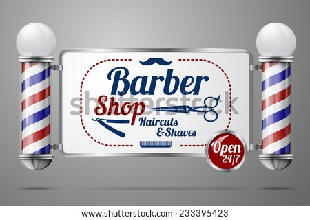 Realistic vector - two old fashioned vintage silver and glass barber shop poles holding Barber Sign. Isolated on grey background, for design and branding.