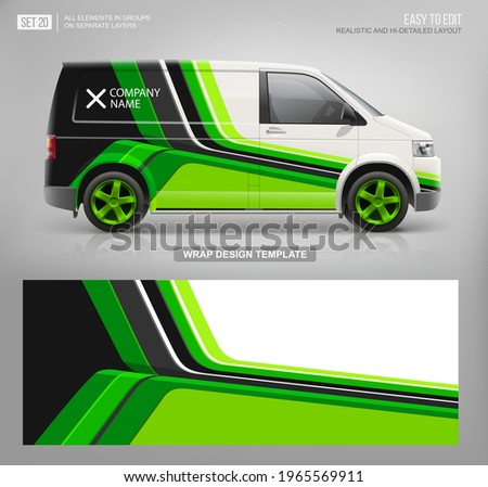 Realistic Vector Van mockup template and wrap decal for livery branding design and corporate identity. Abstract graphic of green stripes Wrap, sticker and decal design for services van and racing car