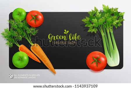 Realistic vector Vegetables with concept logo for Organic Shop on black background. Mock-Up template for Vegetal logo presentation. Vegan Organic Food, Produce of carrot, tomatoes and selery