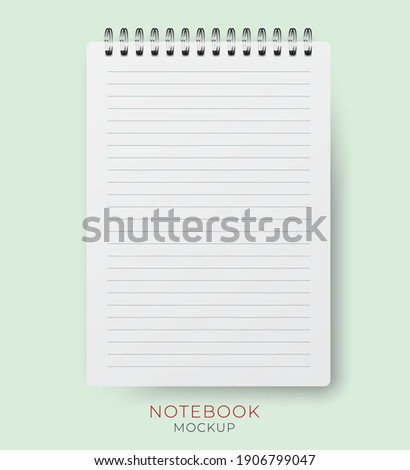 Realistic vector vertical notebook mockup with lined paper sheet. Spiral notepad blank mockup A4.