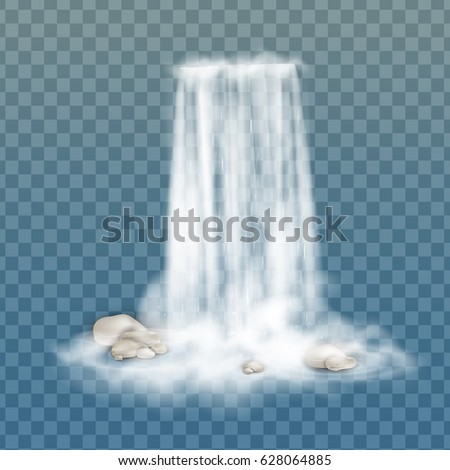 Realistic vector waterfall with clear water, stone,  bubbles. Natural element for design landscape images. Transparent Waterfall. Nature waterfall. Isolated on transparent background. Stream of water.