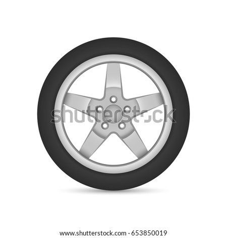 Realistic vector wheel, car disk with tire isolated on white background