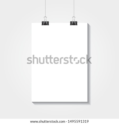 Realistic vector white blank A4 paper poster hanging on a rope with clip