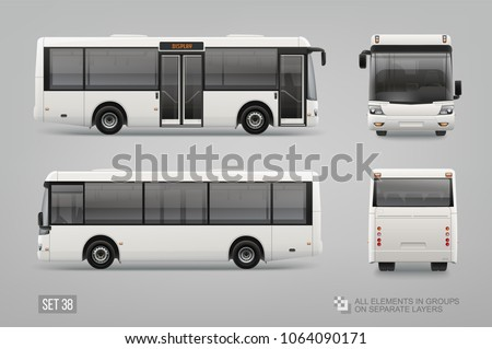 Realistic vector White Coach Mini Bus Mockup template isolated on grey background. Passenger Transport for brand identity and advertising design. Blank surface Mini Bus