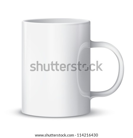 Realistic vector white cup isolated on white. EPS10 image.