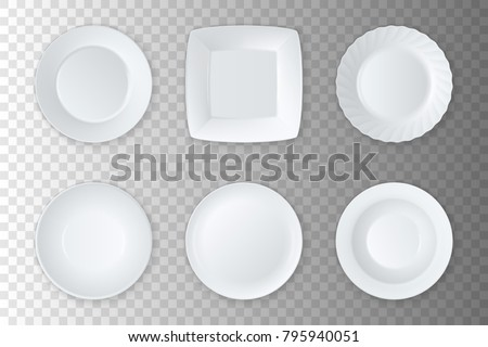 Realistic vector white empty food plate, dish and bowl icon set closeup isolated on transparency grid. Kitchen appliances utensils. Design template, mock up for graphics, printing etc. Top view