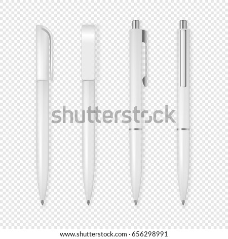 Realistic vector white pen icon set. Corporate identity and branding stationery. Closeup isolated on transparent background. Design template, mockup in EPS10.
