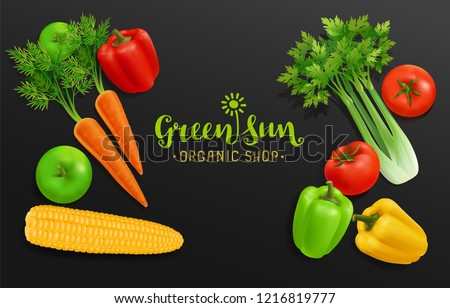 Realistic Vegetables with hand written Vegetal logo sign for Organic Shop on black background. Vector Vegetables collecton of peppers, corn, carrot,  tomatoes and selery. Organic Food Brand template #1216819777