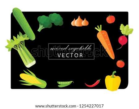 Realistic Vegetables with hand written Vegetal logo sign for Organic Shop on black background. Vector Vegetables collecton of peppers, corn, carrot, tomatoes and selery. Organic Food Brand template #1254227017