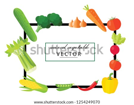 Realistic Vegetables with hand written Vegetal logo sign for Organic Shop on black background. Vector Vegetables collecton of peppers, corn, carrot, tomatoes and selery. Organic Food Brand template #1254249070