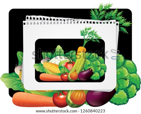 Realistic Vegetables with hand written Vegetal logo sign for Organic Shop on black background. Vector Vegetables collecton of peppers, corn, carrot, tomatoes and selery. Organic Food Brand template #1260840223