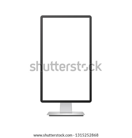 Realistic vertical TV monitor mockup with white screen. Vector