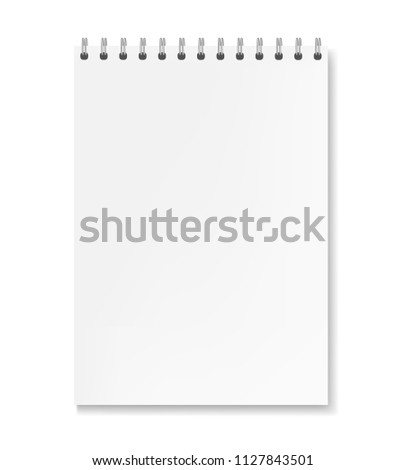 Realistic vertical vector white sheet notebook mockup. Copybook with blank paper on metallic ring spiral binder, organizer template for your business or education text