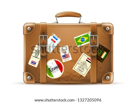 Realistic vintage travel bag with Italy, France, Brazil country flags, stamps . Vector leather baggege suitcase for summer vacation. Travelling and tourism luggage Voyage, cruise trip brown briefcase.