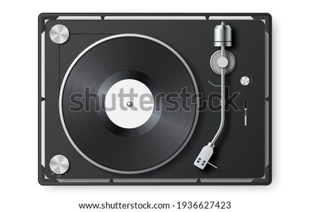 Realistic vinyl record player. 3d detailed vintage turntable with vinyl record. Retro gramophone LP record. Top view. Sound equipment. Concept for sound, entertainment. Vector illustration