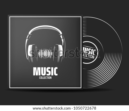 Realistic vinyl record with cover mockup. typography with headphones and sound wave. Music collection. Front view. Vector illustration. Place your design
