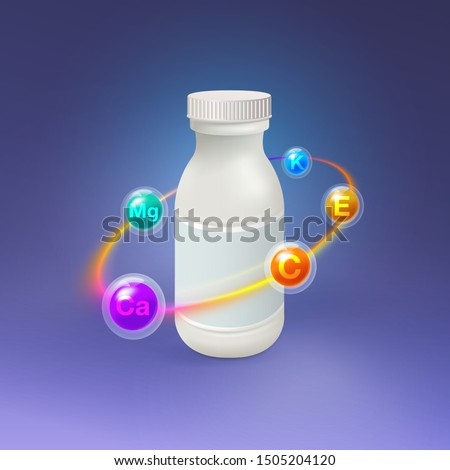 Realistic vitamin plastic bottle With a multicolored light circle surrounded by essential vitamins and minerals Vector creative design with a clear glass capsule, vitamin, tablet, Mock Up