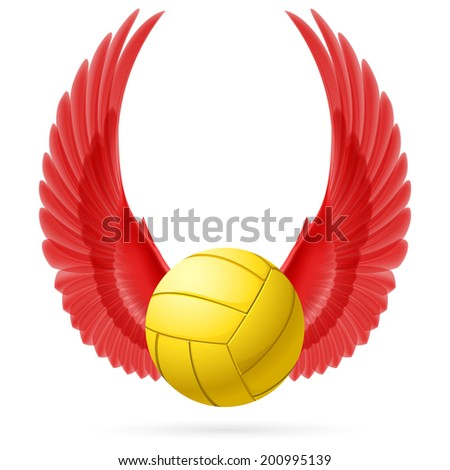 Realistic volley ball with raised up red wings emblem