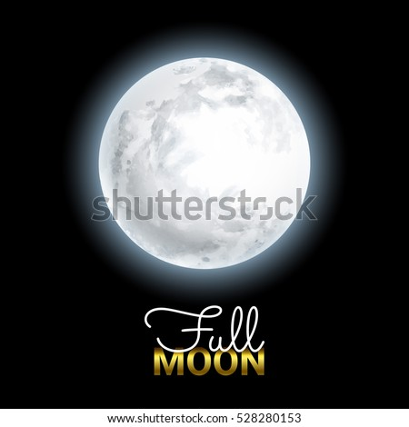 Realistic Volume 3d Full Moon on Black Dark Background. Mystical Shining Moonlight. Vector illustration.