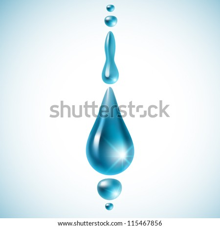 Realistic water drops on white background (isolated) - vector illustration.