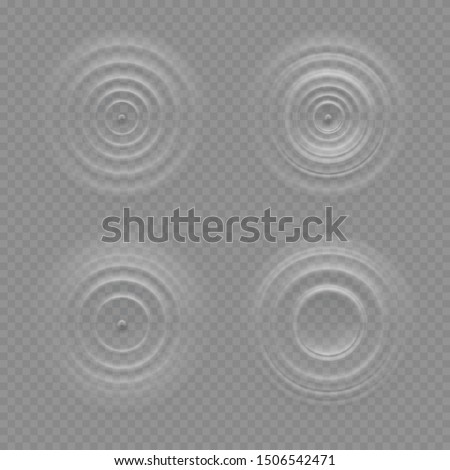 Realistic water ripple effects isolated on a transparency background, round waves on a surface of the liquid, circular sound, resonance, music, waveform patterns or design elements