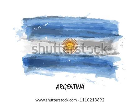 Realistic watercolor painting flag of Argentina . Vector . ( Not auto trace . Use watercolor brush )