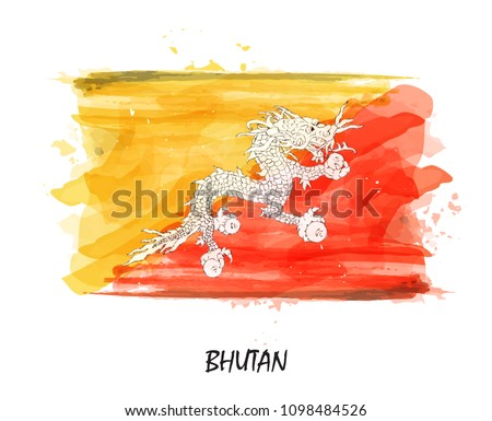 Realistic watercolor painting flag of Bhutan . Vector . - Shutterstock ID 1098484526