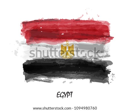 Realistic watercolor painting flag of Egypt . Vector .