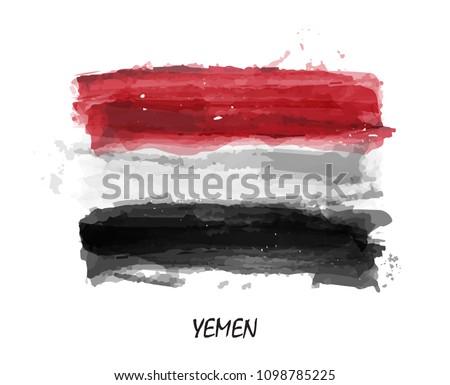 Realistic watercolor painting flag of Yemen . Vector .