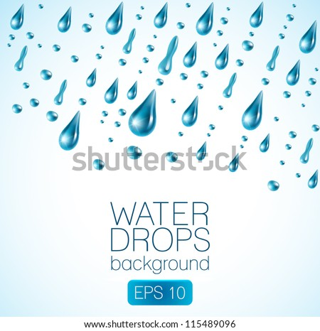 realistic waterdrops on white