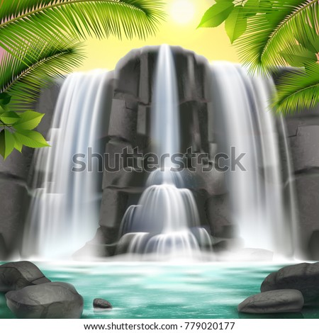 realistic waterfall background