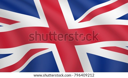 Realistic waving flag of Britain. Current national flag of United Kingdom of Great Britain and Northern Ireland. Illustration of lying wavy shaded flag of UK country. Background with british flag.