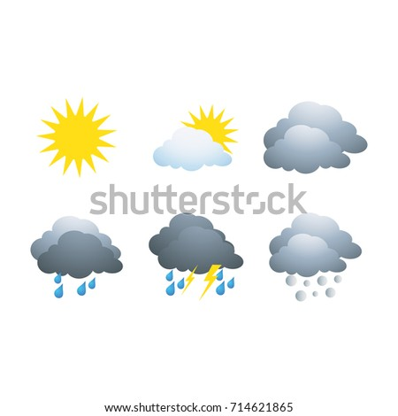 Realistic weather icons set isolated on white background vector illustration