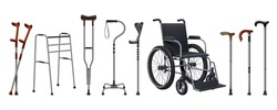 Realistic wheelchairs and canes. 3D medical supplies for musculoskeletal injury patients. Walking sticks set. Rehabilitation staffs and crutches. Vector props for handicapped persons