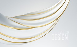 Realistic white and gold swirl shape isolated on white background. Liquid abstract modern banner design. Vector illustration. Vector illustration EPS10