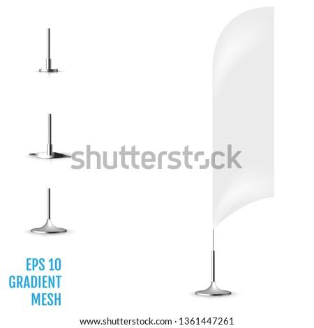 Realistic white banner flag 3d mockup. Textile waving advertisement banner flag. #1361447261