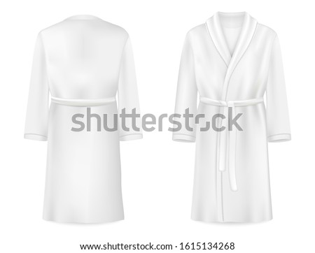 Realistic white bathrobe mockup, vector illustration isolated on white background. Soft cotton dressing gown or housecoat front and back view. ストックフォト ©