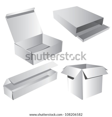 Realistic White Box, Cardboard Box, packaging