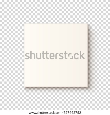 Realistic white box icon on transparent background, top vew. Template for greeting card, brochure or poster. Vector illustration.