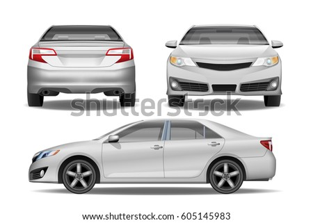 Realistic White Business car Sedan vector template. Easy to change the color.  Separate layers. High detailed Car from side, back and front View. Corporate Sedan Vehicle.