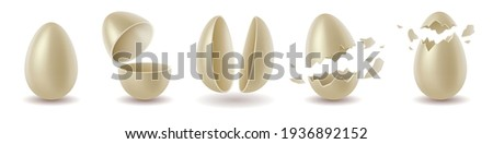 Realistic white chocolate eggs set. Broken, exploded eggshell, two halves and whole chicken egg. Sweet easter holiday symbol. 3d vector illustration Stockfoto ©